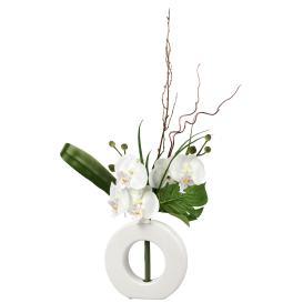 Orchideenstrauß in der Vase, Weiß, 44cm