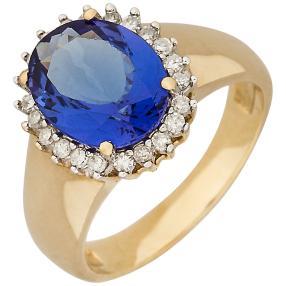 Ring 585 Gelbgold, AAAA Tansanit, Diamant