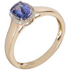 Ring 585 Gelbgold AAAATansanit Zirkon