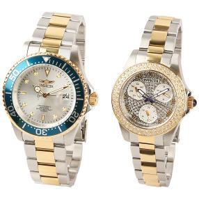 INVICTA 2er Uhrenset für Sie und Ihn bicolor