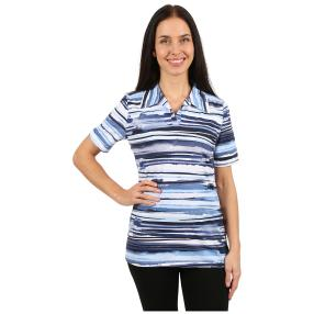 RÖSSLER SELECTION Damen-Poloshirt blau gestreift