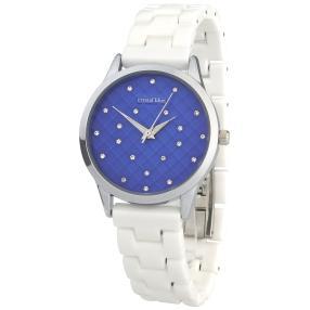 crystal Blue Damenuhr blau mit Keramikband weiß