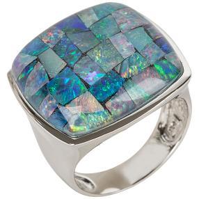 Ring Sterling Silber, Mosaikopal Triplette
