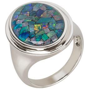 Ring 925 Sterling Silber, Mosaikopal Triplette