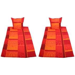 AllSeasons Bettwäsche 4-teilig, rot/orange