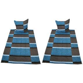AllSeasons Bettwäsche 4-teilig, Karos blau/grau