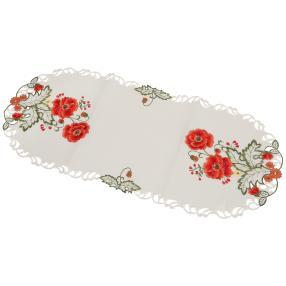 Tischläufer Mohnblume bestickt, 38 x 90 cm