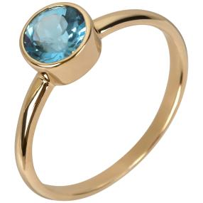Ring 375 Gelbgold Swiss Blue Topas behandelt