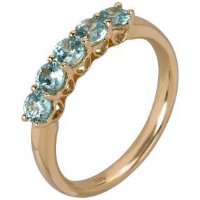 Ring 375 Gelbgold Zirkon blau