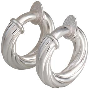 Creolen mit Clip, 950 Silber