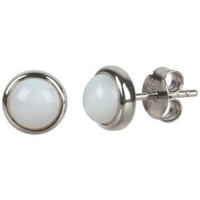 Ohrstecker 925 Sterling Silber rhodiniert Opal