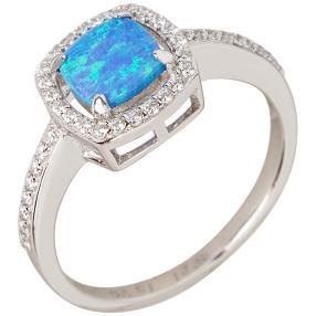 Ring 930 Silber Opal blau, Zirkonia