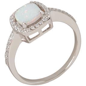 Ring 930 Silber Opal synthetisch weiß, Zirkonia