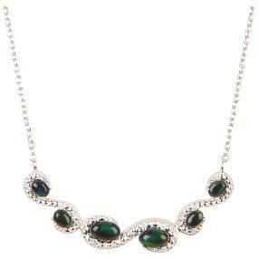 Collier 925 Sterling Silber rhodiniert Opal