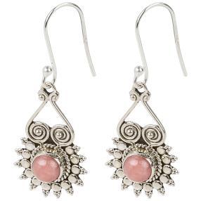 Ohrhänger 925 Sterling Silber rhodiniert Opal pink