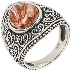 Ring 925 Sterling Silber rhodiniert Karamell Opal