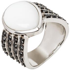 Ring 925 Sterling Silber rhodiniert Opal weiß
