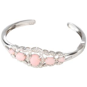 Armspange 925 Sterling Silber rhodiniert Opal pink