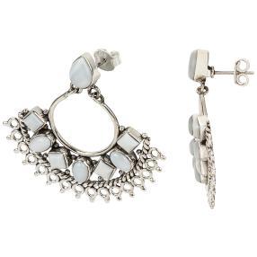 Ohrhänger 925 Sterling Silber rhodiniert Opal