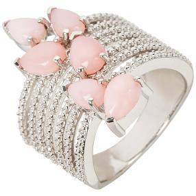 Ring 925 Sterling Silber rhodiniert Opal pink