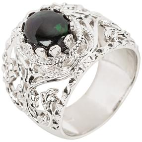 Ring 925 Sterling Silber rhodiniert Opal schwarz