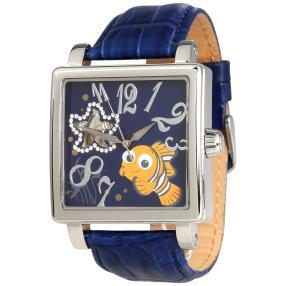"Disney ""Nemo"" Damenuhr Automatik eckig blau"