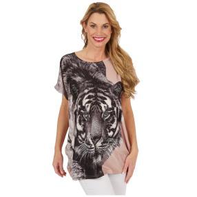 "Damen-Longshirt ""Tiger"", rosé"