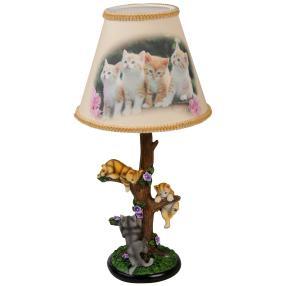 Tischleuchte Katzen 42cm bemalt