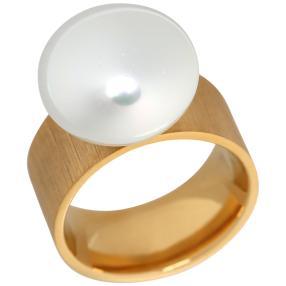Ring Edelstahl vergoldet Muschelkernperle