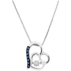 Herzanhänger mit Kette 925 Sterling Silber Diamant