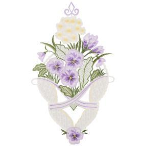 Fensterbild Plauener Spitze Hornveilchen lila