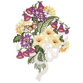 Fensterbild Plauener Spitze Blumen lila