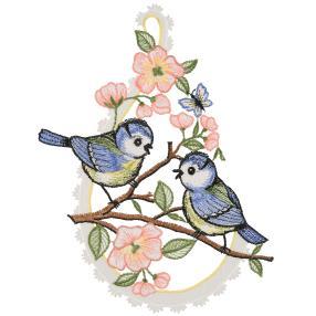 Fensterbild Plauener Spitze Vögelchen