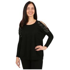 Damen-Pullover 'Gala' mit Perlen & Spitze schwarz