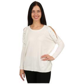 Damen-Pullover 'Gala' mit Perlen & Spitze weiß