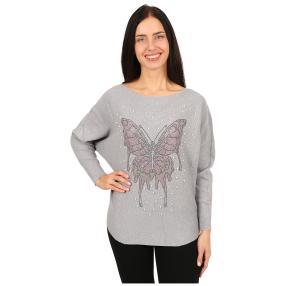 Damen-Pullover 'Butterfly' mit Perlen grau