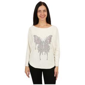 Damen-Pullover 'Butterfly' mit Perlen weiß