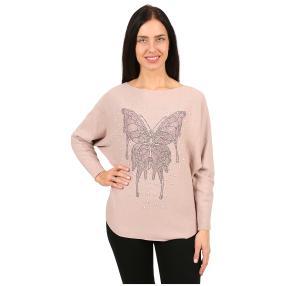 Damen-Pullover 'Butterfly' mit Perlen pink