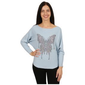 Damen-Pullover 'Butterfly' mit Perlen blau