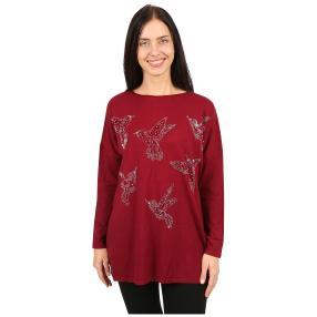 Damen-Longpullover 'Birds' mit Perlen rot