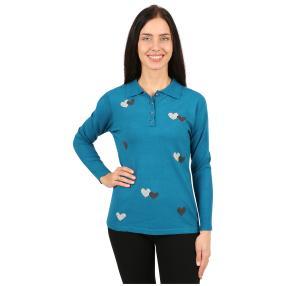 Damen-Polo-Pullover 'Hearts' blau