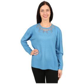 Damen-Pullover 'Denver' mit Bestickung blau