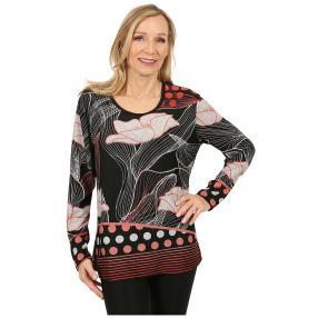Damen-Pullover 'Salamanca' schwarz/rot