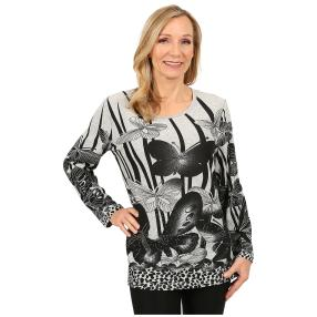 Damen-Pullover 'Almeria' weiß/schwarz