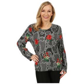 Damen-Pullover 'Oviedo' schwarz/rot
