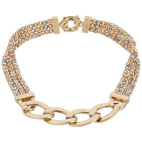 Kugelarmband 585 Gold tricolor 3-reihig