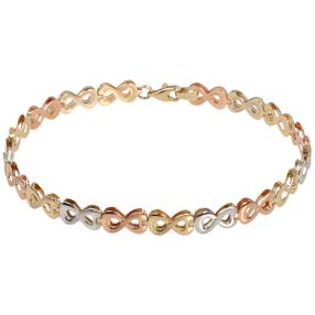 Infinity-Armband 585 Gelbgold/Weißgold/Rosegold