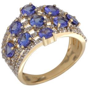 Ring 585 Gelbgold AAATansanit, Zirkon