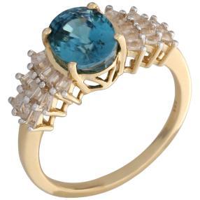 Ring 585 Gelbgold AAAZirkon blau, Zirkon