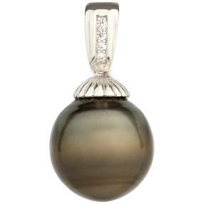 Anhänger 925 Sterling Silber Tahiti Perle 12-13mm